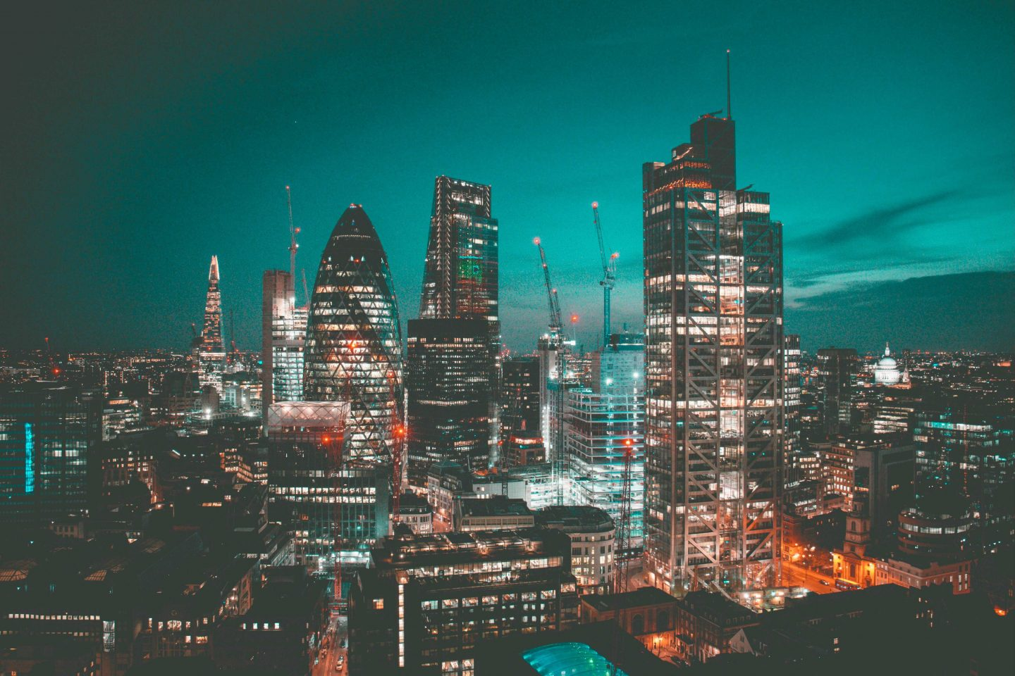 View of London at sunset with city lights
